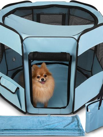 Paws & Pals Portable Pet Playpen with Blanket / Blue