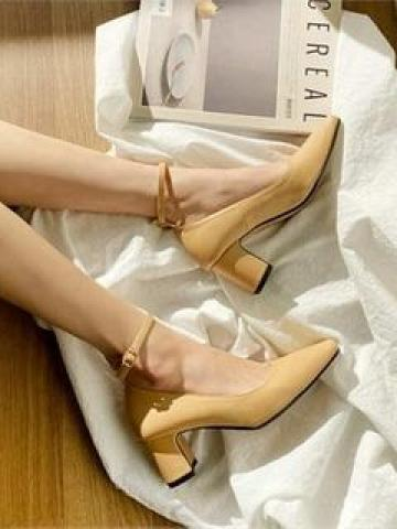 Square-Toe Block-Heel Mary Jane Pumps