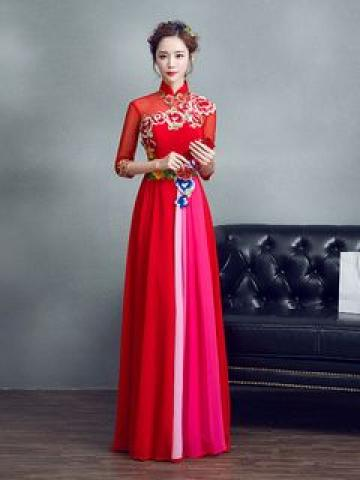 Flower Embroidered 3/4-Sleeve A-Line Evening Gown