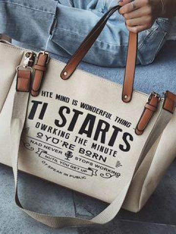 Lettering Canvas Tote Bag