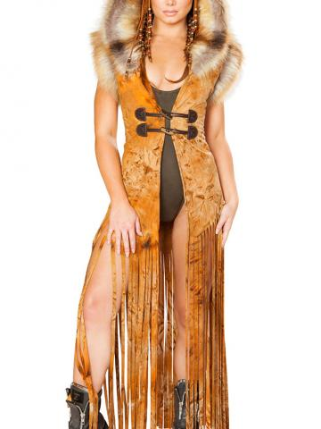 Dramatic Fringe Duster by J Valentine, Rusty, Size M/L - Yandy.com